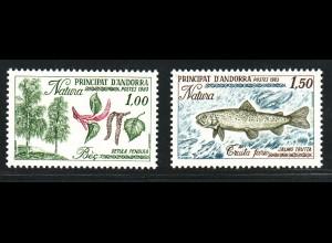 Andorra (Französische Post): 1983, Naturschutz (Birke und Forelle)