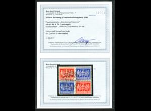 1948, Exportmesse-Viererblock in guter Variante (24/50 oben) (Fotobefund BPP)