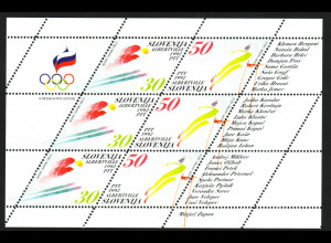 Slowenien: 1992, Zdr.-Kleinbogen Winterolympiade Albertville