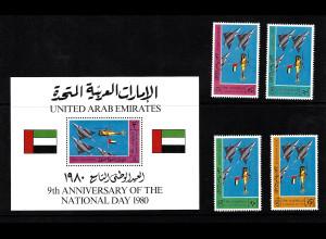 Vereinigte Arabische Emirate: 1980, Nationalfeiertag (Satz und Blockausgabe, Motiv: Flugzeuge)