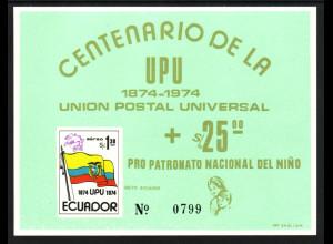 Ecuador: 1974, Blockausgabe Weltpostverein UPU (Einzelstück in grün)