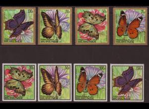 Burundi: 1968, Schmetterlinge (nur jeweils die vier Höchstwerte der normalen und der Flugpostausgabe)