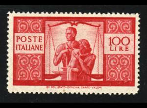 Italien: 1945, Freimarken Demokratie 100 L. (sauber gefalzter Höchstwert)