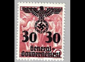 1940, Überdruckausgabe 30 auf 30 Gr. (Erstfalz, gepr. Paetow BPP)