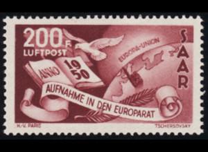 Saarland: 1950, Europarat 200 Fr. seltener Plattenfehler