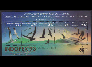 Weihnachtsinseln: 1993, Ausstellungsblock mit Goldaufdruck INDOPEX (Seevögel)