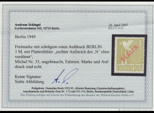 Berlin: 1949, Rotaufdruck 1 DM mit Aufdruckfehler)