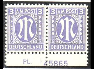 1945, AM-Post 3 Pfg. (Unterrandpaar mit Plattennr. 45865, Kurzbefund BPP)