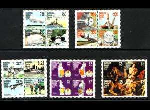 Antigua und Barbuda / Barbuda: 1977, Viererblocksatz Jahresereignisse (dabei Motive: Flugzeuge, Zeppelin, Weltraum und Rubens)