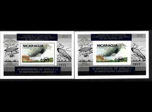 """Nicaragua: 1980, Überdruckblockpaar Luftschiff """"Graf Zeppelin""""; auch Aufdruck Weltraum 10 Jahre Apollo und Lunochod (jeweils mit besserem goldenen Aufdruck, M€ 140,-)"""