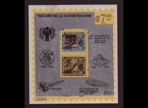Nicaragua: 1980, Überdruckblockausgabe Alphabetisierungskampagne (u. a. auch Motiv Weltraum, Zeppelin, Concorde und Briefmarke auf Briefmarke)