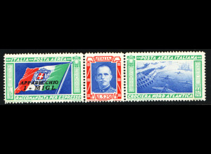 Italien: 1933, Zusammendruckstreifen Geschwaderflug Rom - Chicago (Einzelstück, M€ 250,-)