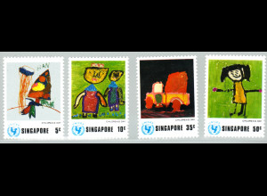 Singapur: 1974, Viererblock UNICEF (Kinderzeichnungen)