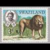Swaziland: 1975, Freimarken Einheimische Wildtiere 3 C. (Nachauflage mit stehendem WZ)