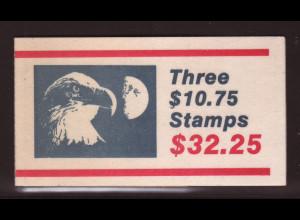 USA: 1985, Markenheftchen Eilmarke Adler $ 10,75 (enthält 2x zweiseitig und 1x einseitig gezähnte Marke Kat.-Nr. 1750, M€ 85,-)