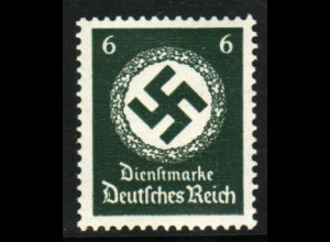 DR-Dienstmarken: 1934, Hakenkreuz 6 Pfg. waager. Gummiriffelung (gepr. BPP)