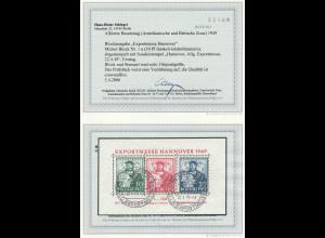 """Bizone: 1949, Block Exportmesse, Esst. """"Hannover"""" (Verzähnung, Fotoattest BPP)"""