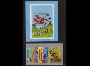 Antigua: 1980, Walt-Disney-Figuren (Jahr des Kindes, Satz und Blockausgabe)