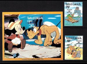 Turks- und Caicos-Inseln: 1981, Walt-Disney-Figuren (Pluto, Satz und Blockausgabe)