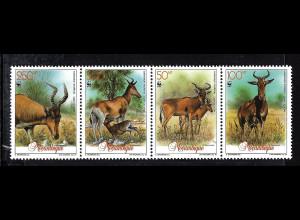 Mosambik: 1991, Kuhantilope (Viererstreifen, WWF-Ausgabe)