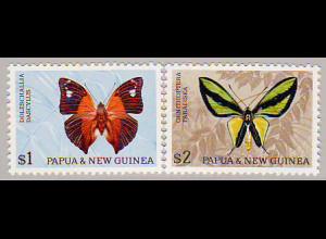 Papua Neuguinea: 1966, Freimarken Schmetterlinge (Höchstwerte in besserer Type II, M€ 32,-)