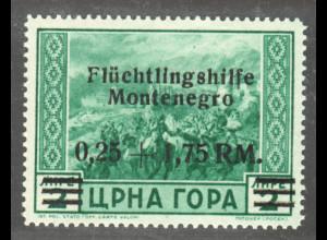 Montenegro: 1944, Aufdruck Flüchtlingshilfe 0,25 + 1,75 RM;