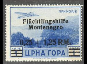 Montenegro: 1944, Aufdruck Flüchtlingshilfe 0,25 + 1,75 RM Flugpost;