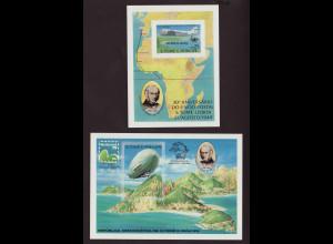 Sao Thomé und Principe: 1979, Blockpaar Flugzeug und Zeppelin (ungezähnt)