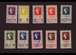 Mexiko: 1940, 100 Jahre Briefmarken (postfrisch, 2 Werte mit Gummifehlern)
