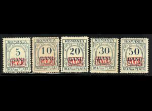 Militärverwaltung in Rumänien: 1918, Portomarken ohne WZ (postfrisch, M€ 450,-)