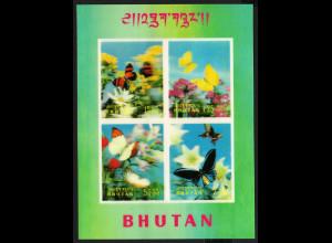 Bhutan: 1968, Blockausgabe Schmetterlinge (Einzelstück)