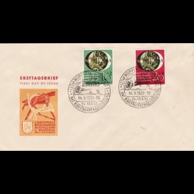 1951, Briefmarkenausstellung Wuppertal (Schmuckersttagsbrief, M€ 300,-)