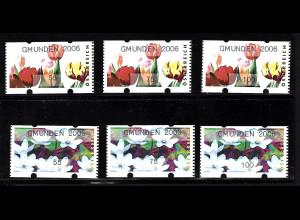 Österreich: 2006, Automatenmarken Blumen Poststandardsatz 55, 75 und 100 C.