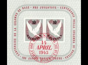 Schweiz: 1945, Blockausgabe Baseler Täubchen