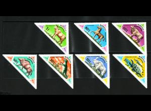 Mongolei: 1977, Dreiecksmarken Prähistorische Tiere
