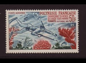 Französisch Polynesien: 1965, Taucher mit Harpune