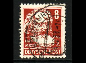 """DDR: 1952, Köpfe II 8 Pfg. mit Plattenfehler """"rechte Kragenlinie verkürzt"""""""