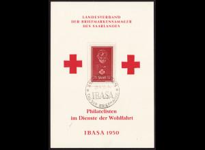 Saarland: 1950, Rotes Kreuz (Gedenkkarte in Form einer Maximumkarte)