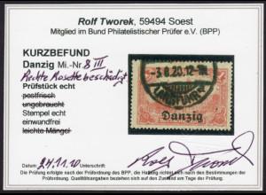 """Danzig: 1920, Reichspostamt 1 Mk., Plattenfehler: """"fehlerhafte Rosette"""""""