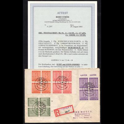 West-Sachsen: Ziffern Postmeistertrennung Roßwein 16 (Viererblöcke, Fotoattest)