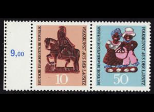 1969, Volkskunst aus der Lausitz Zusammendruck 10+50 Pfg., Randanhänger links