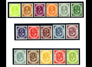 Bundesrepublik: 1951, Posthorn Ausgabe komplett (Fotoattest normale Zähnung)