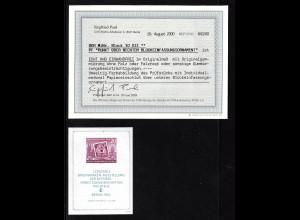 DDR: 1954, Block Bfm.-Ausstellung Plattenfehler III (Fotobefund BPP)