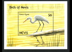 Nevis: 1991, Blockausgabe Silberreiher