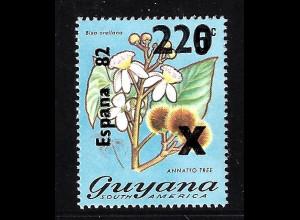 Guyana: 1981, Überdruckausgabe Fußball-WM Spanien (Motiv Blumen)