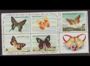 Kuba: 1961, Weihnachten (alle Marken der Ausgabe mit Motiv Schmetterlinge, als Sechserblock mit Zierfeld)
