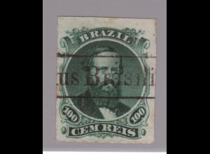 """Brasilien: 1877, 100 R. mit besserem R1-Transitstempel """"aus Brasilien"""""""