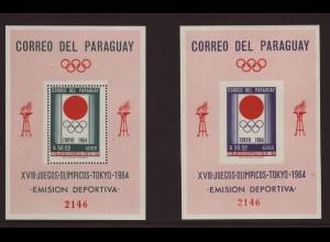 Paraguay: 1964, Blockpaar Sommerolympiade Tokio (M€ 72,-)
