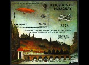 Paraguay: 1974, Blockausgabe Weltpostverein UPU (Gemälde und Luftschiff)