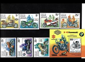 Guinea-Bissau: 1985, 100 Jahre Motorrad (Satz und Blockausgabe)